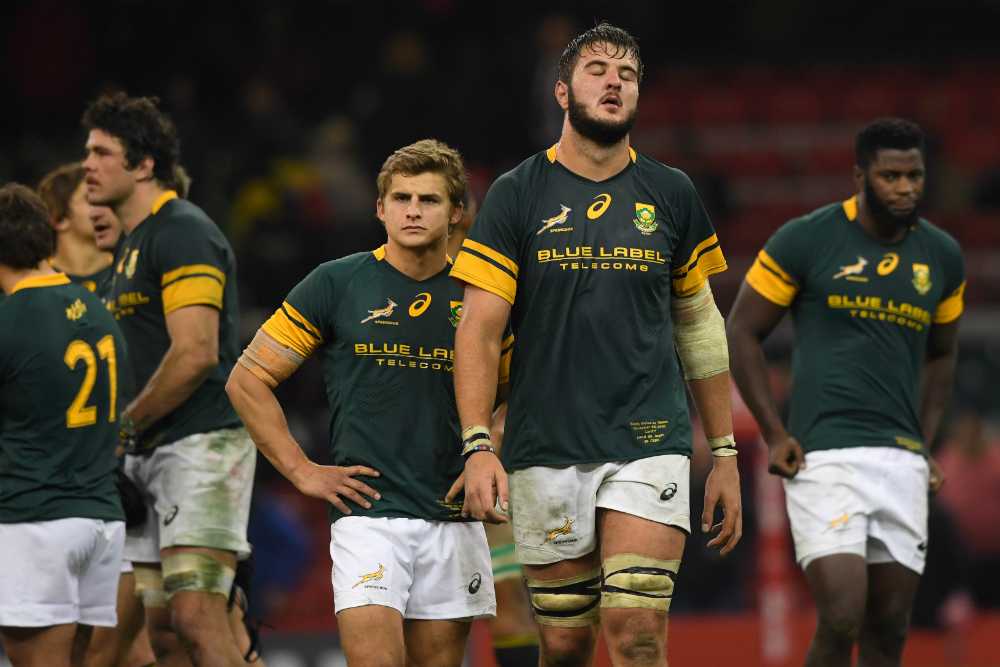 The Springboks react after a disappointing loss to Wales in November. Photo: Getty Images.