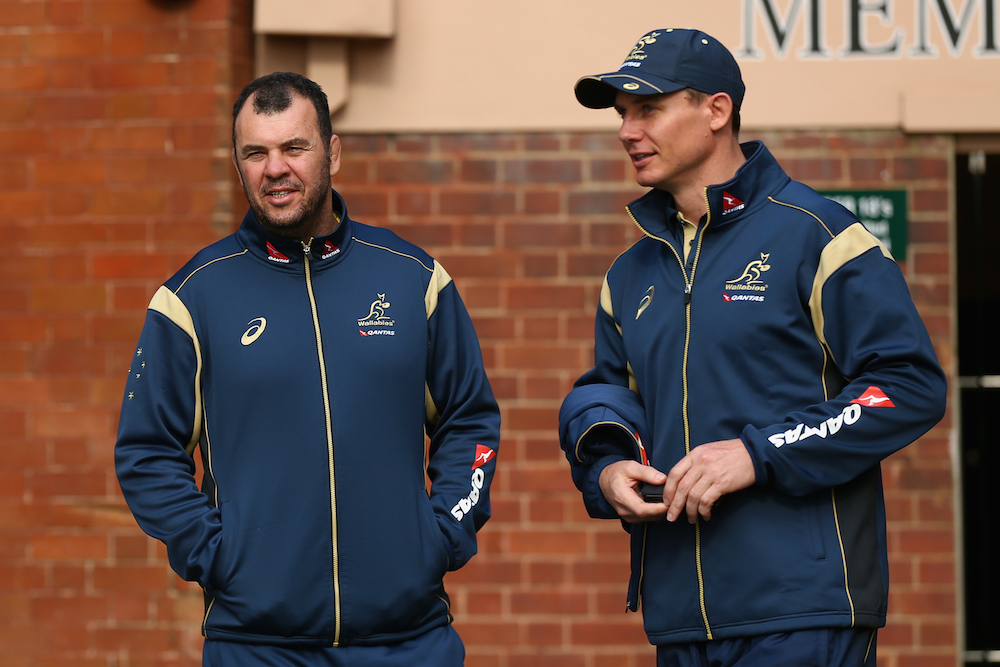 The master and the apprentice. Wallabies Head Caoch and Wallabies Assistant Coach Stephen Larkham. Photo: Getty Images