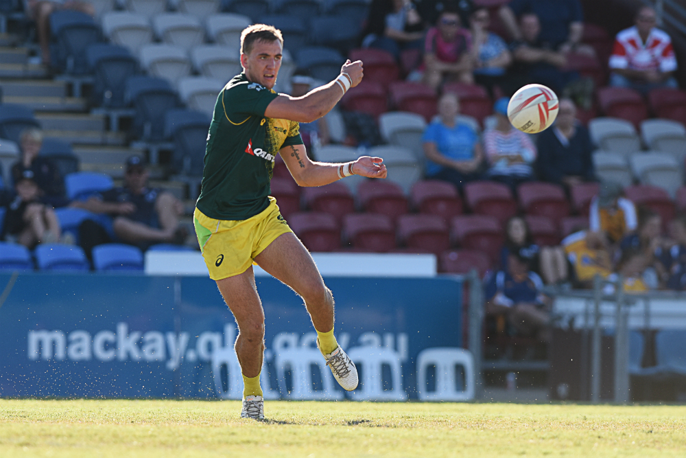 The Australian Sevens squad is back in action at BB Print Stadium this afternoon. Photo: Ben Dolphin