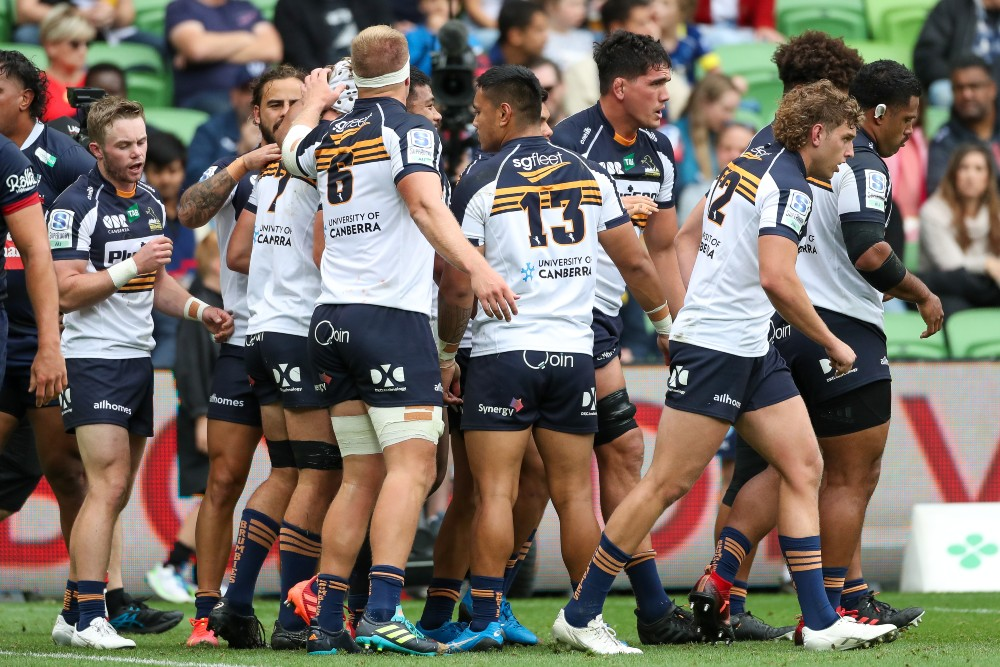 The Brumbies celebrate a try during their round Nine Match with the Rebels. Photo: Getty Images
