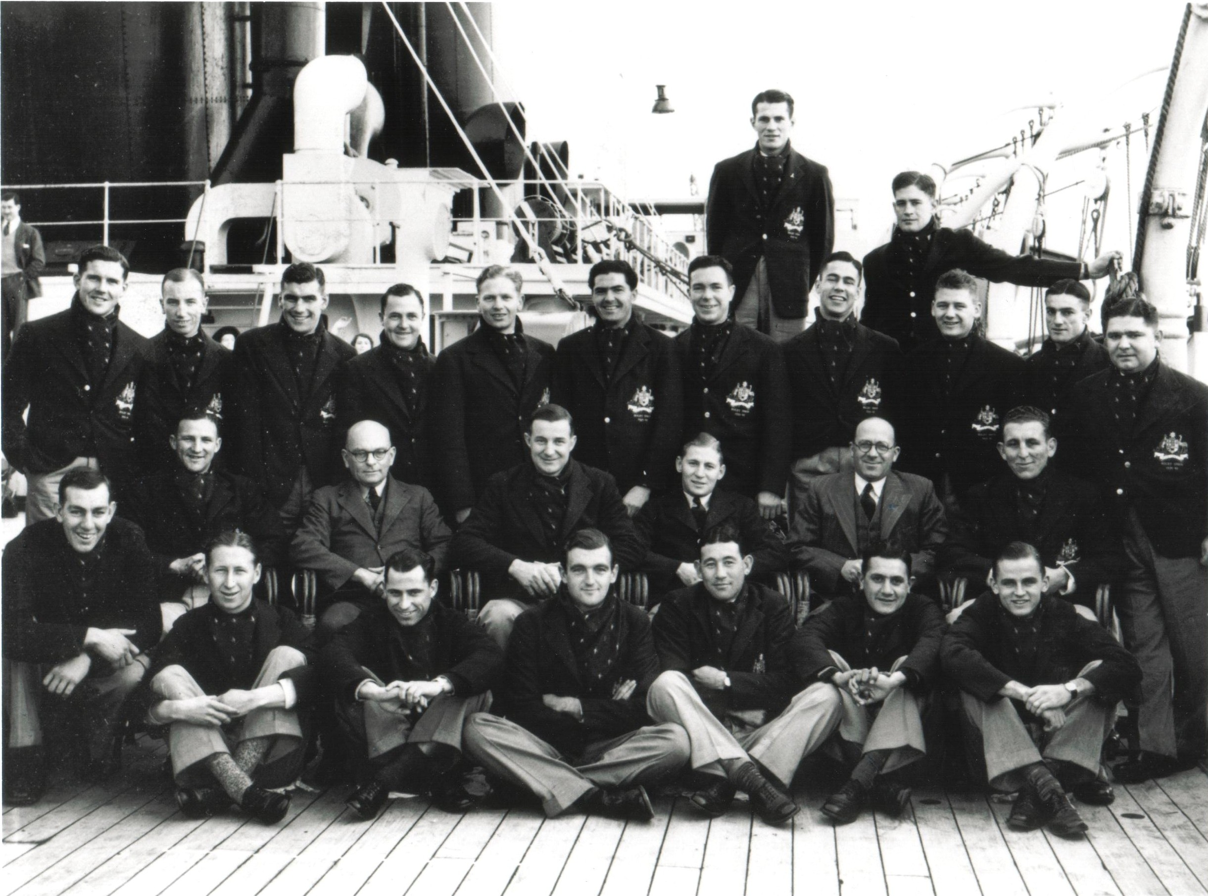 Australian team photograph on board ship to United Kingdom