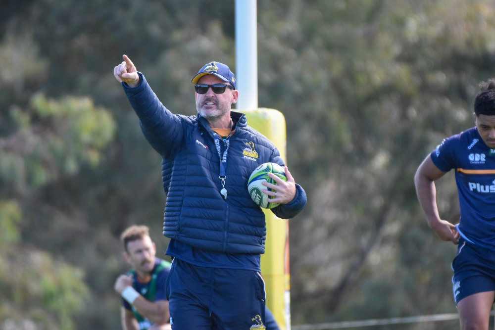 Dan McKellar overlooks training ahead of their Round Nine match with the Rebels | Brumbies Media/Lachlan Lawson