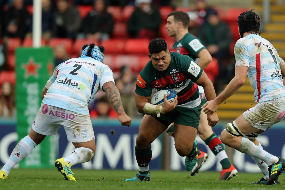 Tatafu Polota-Nau charges into the defence playing for Leicester in the Heineken cup. Photo: Getty Images