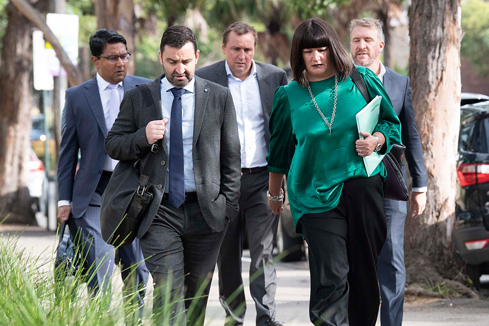 Rugby Australia CEO Raelene Castle and NSW Rugby CEO Andrew Hore arrive for Israel Folau's code of conduct hearing. Photo: Getty Images