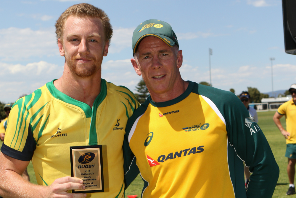 Men's Player of the Tournament, Ben O'Donnell with Australian Men's Sevens coach, Andy Friend. Photo: Peter Mundy.