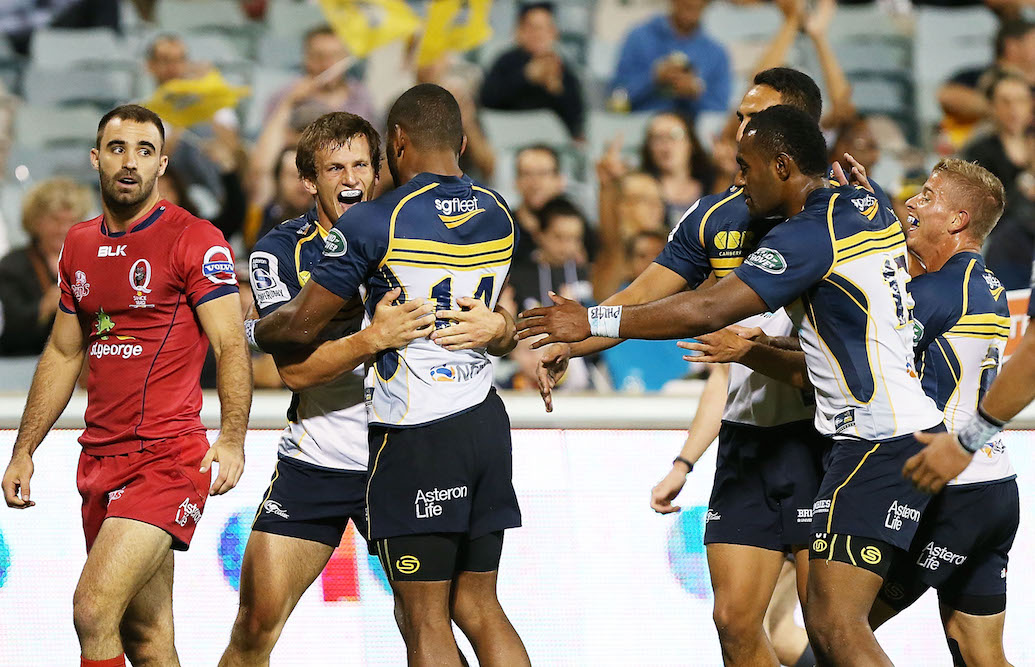 Dargaville celebrates scoring a try on his Brumbies debut in 2015. Photo: Getty Images.
