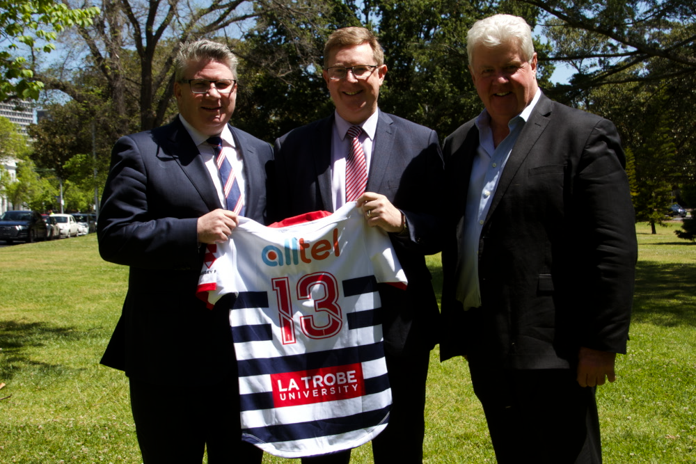 (L-R) Melbourne Rebels Chairman, Paul Docherty with Alltel CEO, Lance Blackbeard and Rugby Victoria President, Tim North