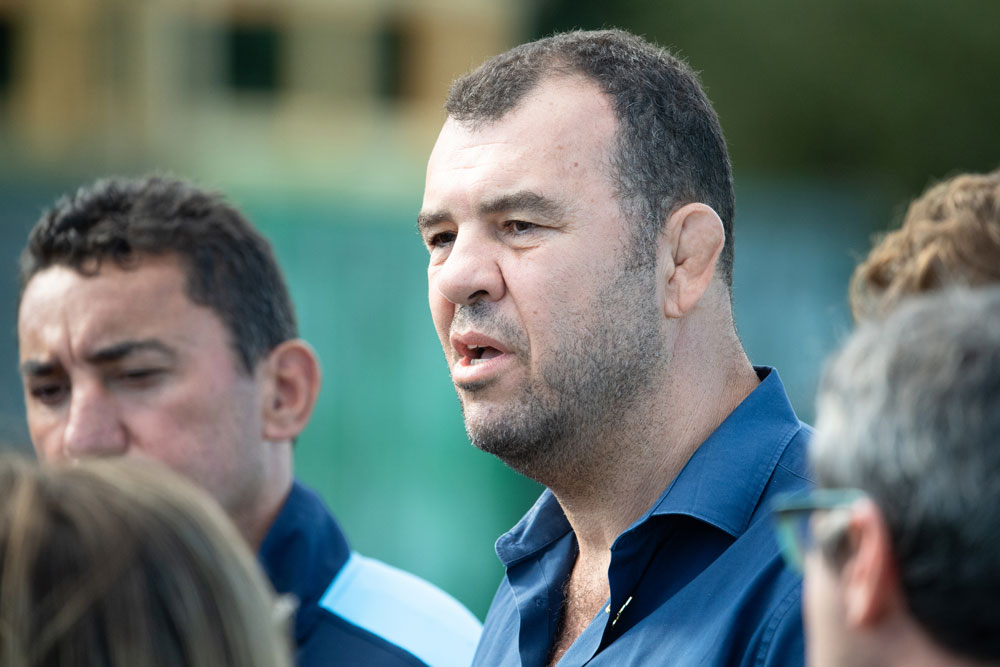 Wallabies coach Michael Cheika speaks to media on Monday morning. Photo: RUGBY.com.au/Stuart Walmsley