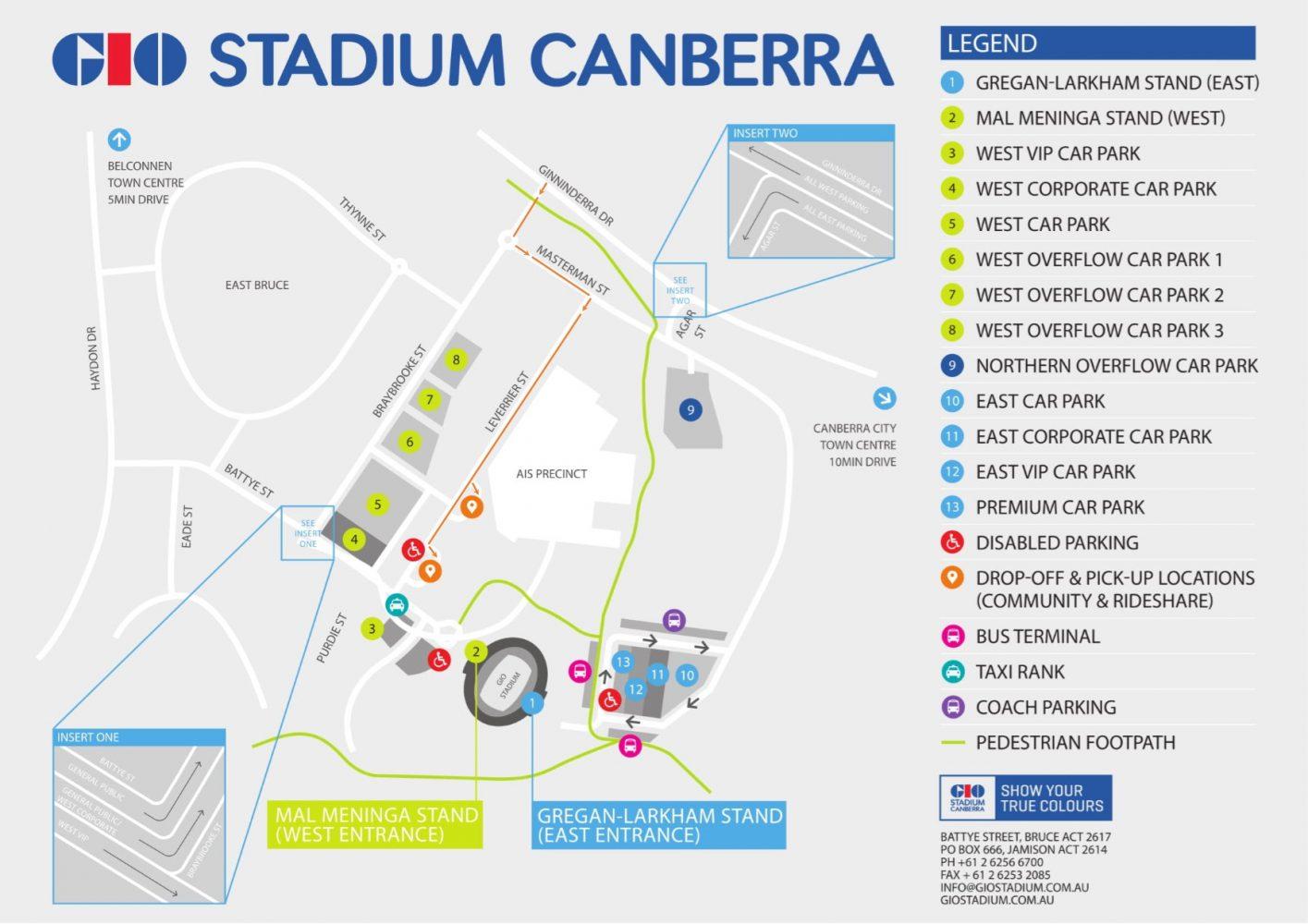 GIO Stadium Parking Map