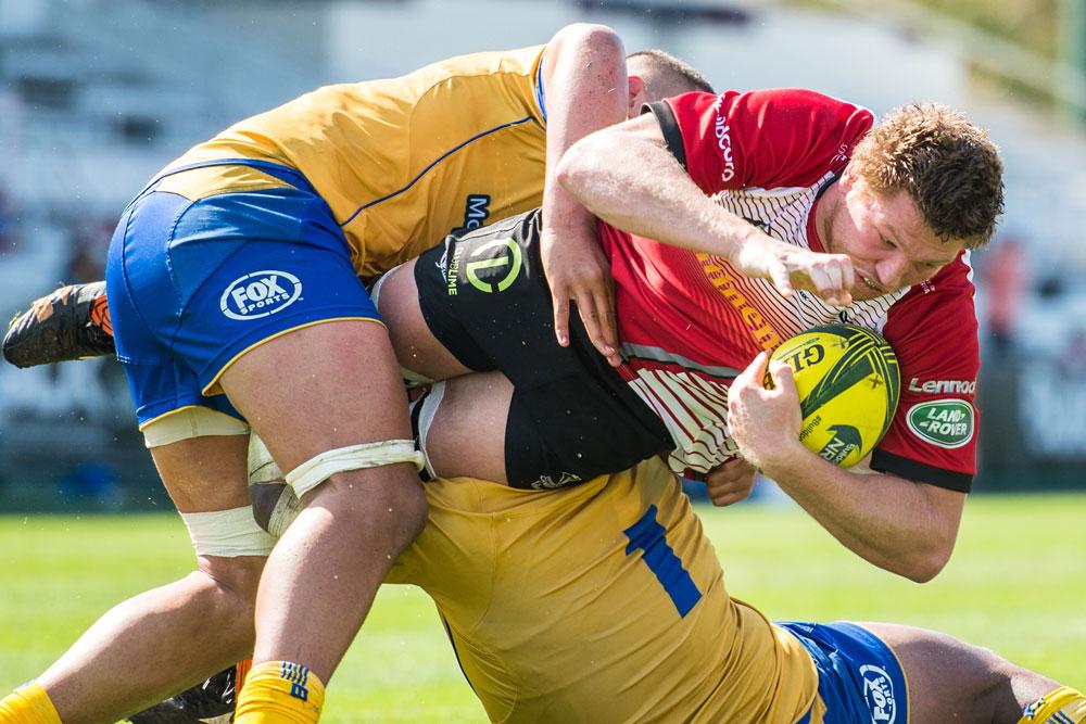 Blake Enever in a tackle. Photo: ARU Media/Stu Walmsley