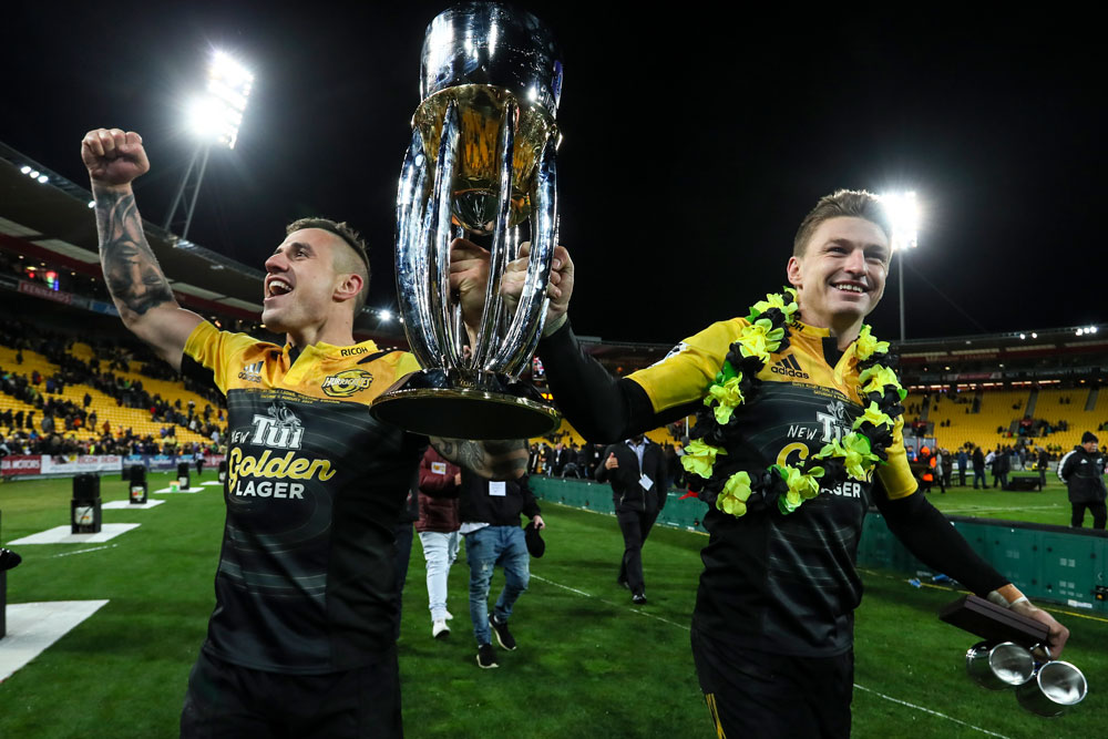 The Hurricanes halves hold the Super Rugby trophy aloft. Photo: Getty Images