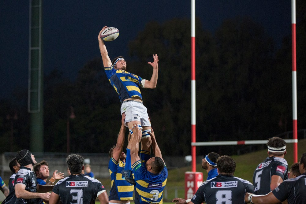 Liam Wright takes the lineout for Easts during the Allsports Physiotherapy Hospital Challenge Cup. Photo: Brendan Hertel/QRU