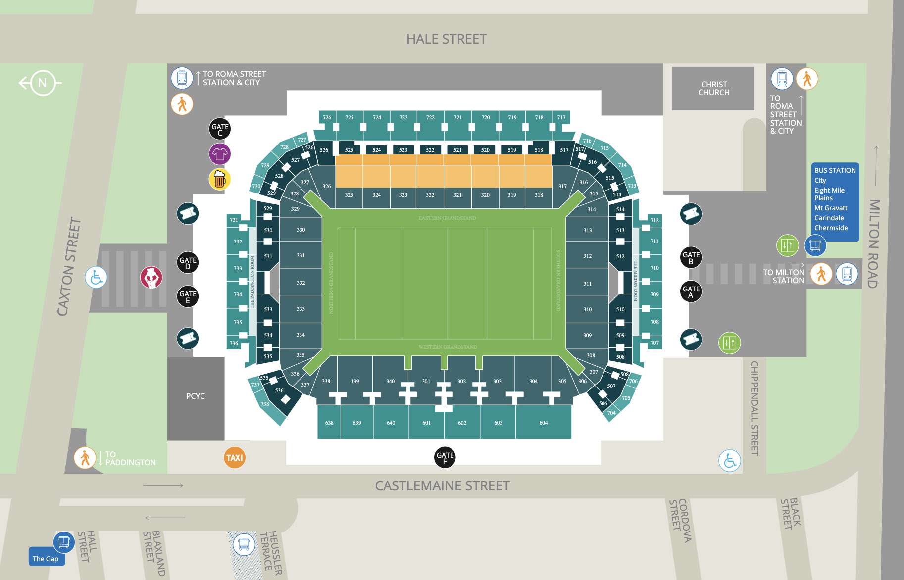 Suncorp Seating Map