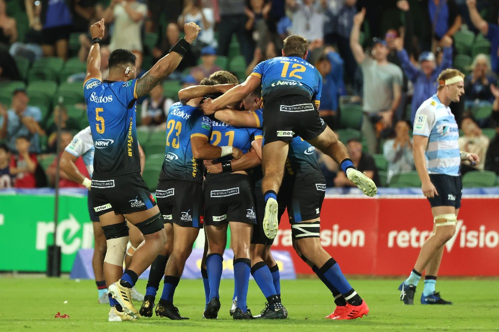 Western Force celebrate after a last minute win over the Waratahs. Photo: Getty Images