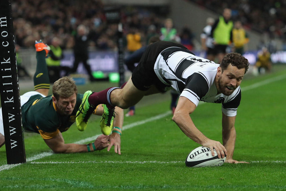 Luke Morahan crossed twice for the Barbarians. Photo: Getty images