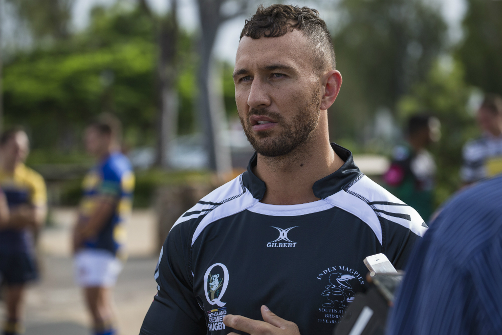 Quade Cooper was forced off early in Souths' win over Wests. Photo: QRU Media/Brendan Hertel