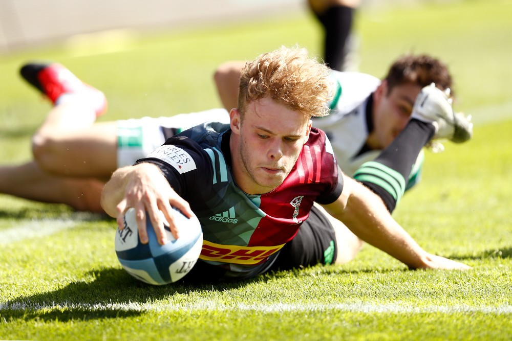 Louis Lynagh scores as Harlequins reach English club rugby's Premiership final. Photo: Getty Images