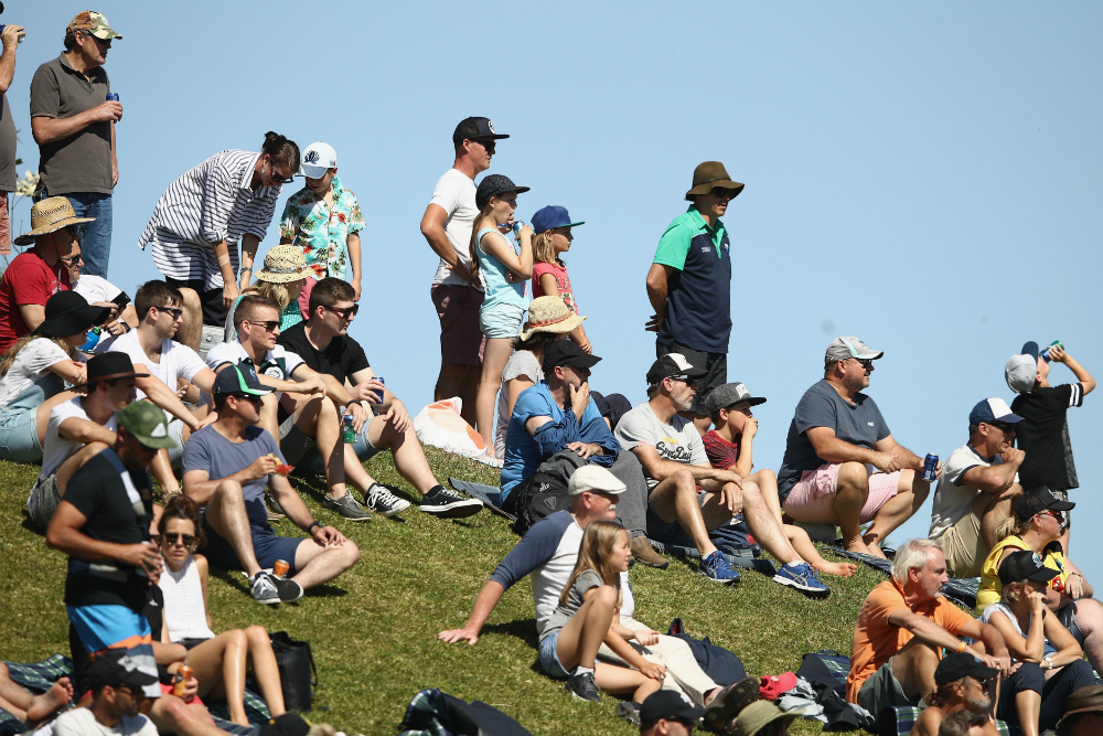 Rugby fans fill the hill at Pittwater Park on Sunday. Photo: Getty Images