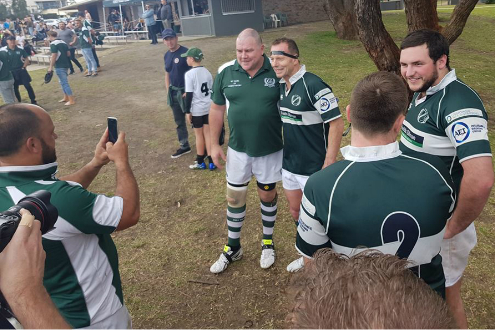 Former Prime Minister Tony Abbott poses for photos with his Forest teammates. Photo: Facebook