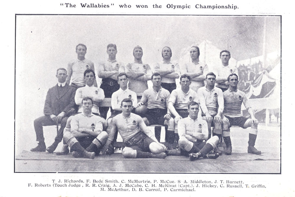 The 1908 'Wallabies' who won Australia's first rugby gold medal. Photo: Supplied
