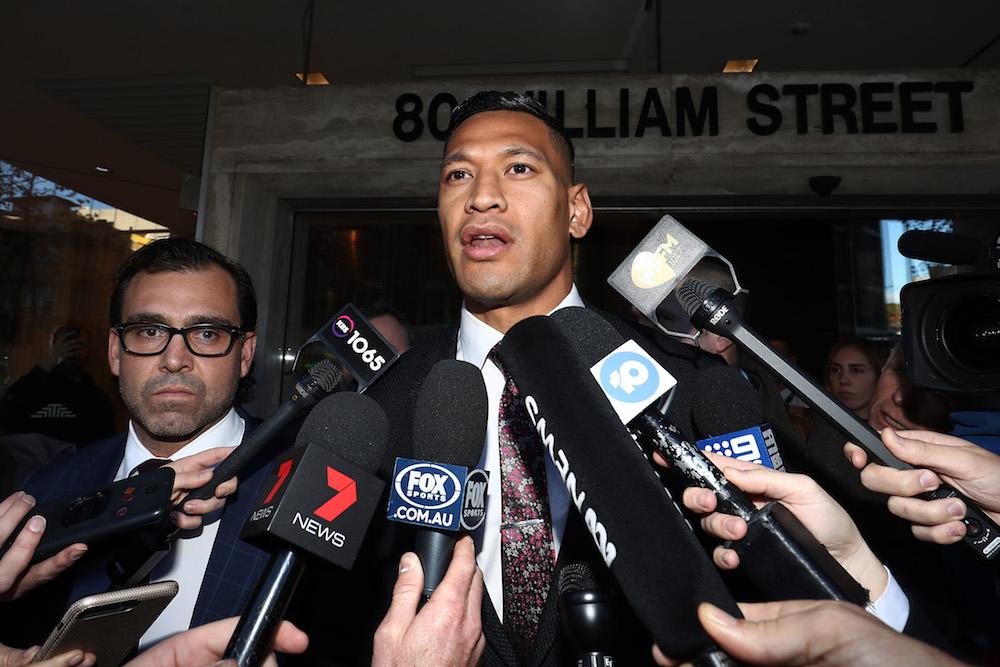 Israel Folau addresses media in Sydney Photo: Getty Images