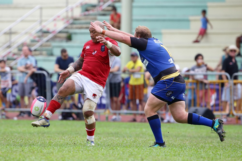 Nili Latu of Asia Pacific Dragons kicks the ball during the Global Rapid Rugby match between the Asia Pacific Dragons and Western Force. Photo: Getty Images