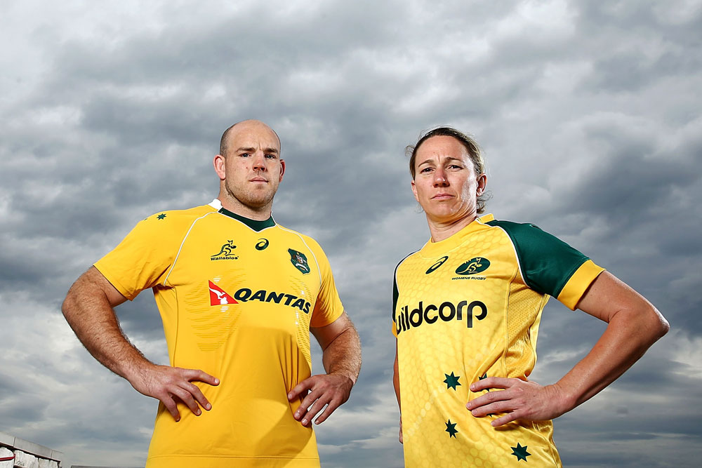 Wallabies captain Stephen Moore and Wallaroos captain Ash Hewson ahead of this weekend's historic double header. Photo: Getty Images