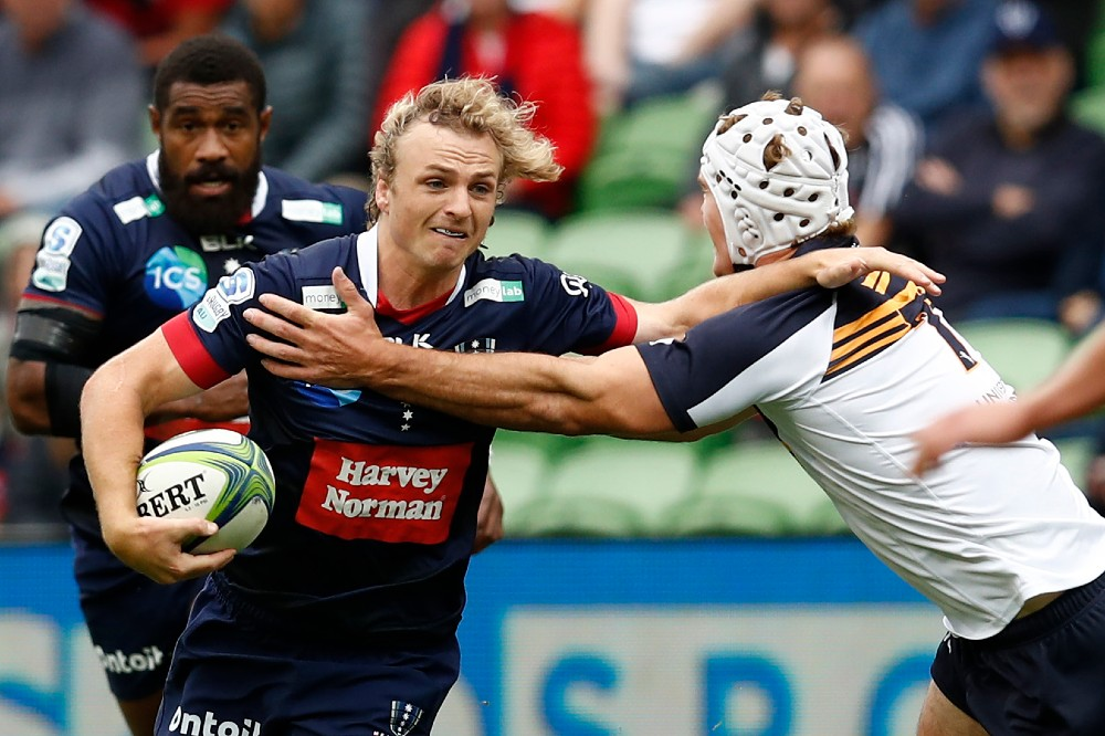 Joe Powell takes on the defence for the Melbourne Rebels. Photo: Getty Images