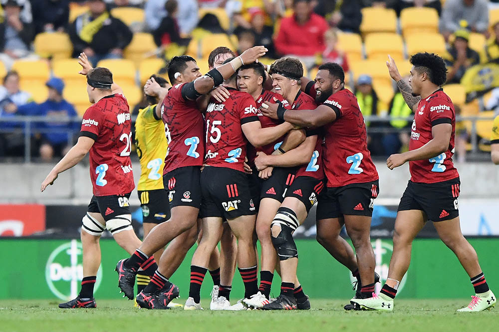 Crusaders celebrate golden point win in Wellington. Photo: Getty Images.