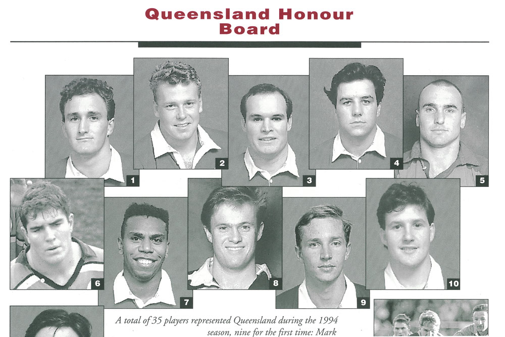 Ware (top right) in a Reds program from the 1994 season. Photo: Supplied