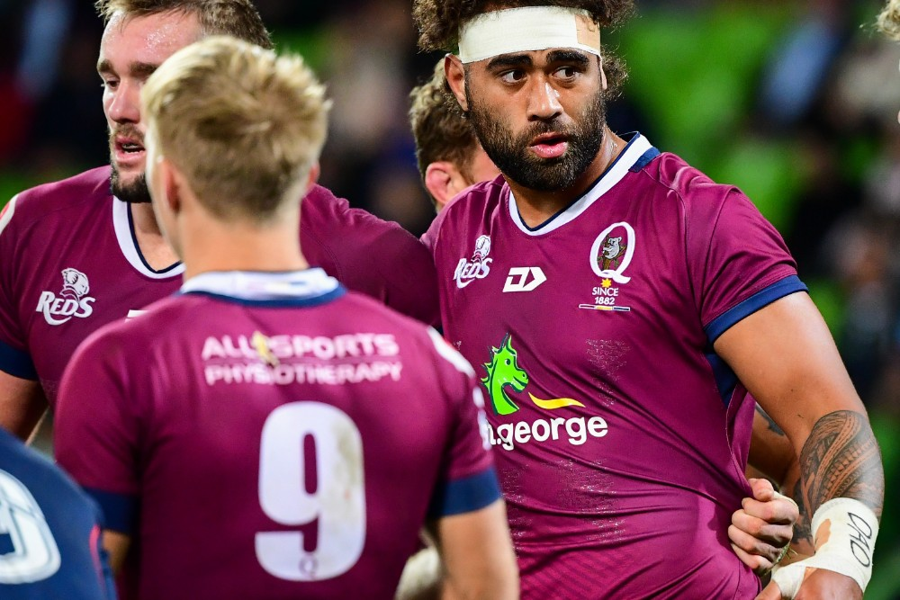 "Lukhan Salakaia-Loto (right) and Rodda (left) both wear the word ""DAD"" on their wrist strapping. Photo: RUGBY.com.au/Stuart Walmsley"