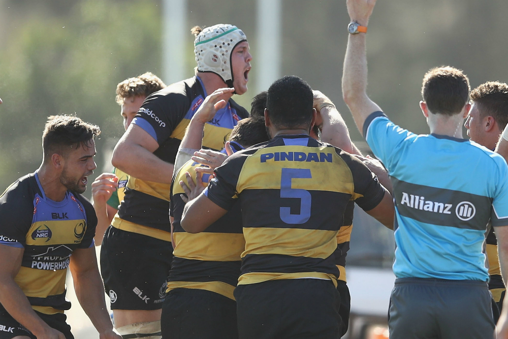 Perth players celebrate a try against the Sydney Rays. Photo: Getty Images