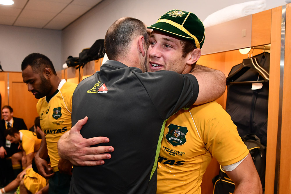 Nathan Grey is optimistic abotu the future of the Wallabies, with players like Kyle Godwin emerging in 2016. Photo: Getty Images