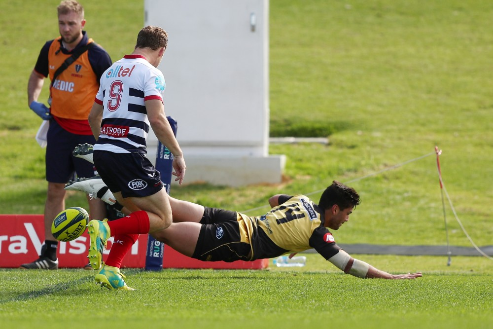 Force winger Byron Ralston scores one of his three first-half tries against Melbourne Rising.